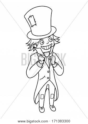 Mad hatter character coloring book vector illustration. Black and white lines. Lace pattern