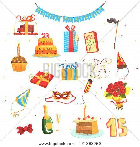 Happy Birthday Party Set Of Isolated Cute Cartoon Objects Related To Partying And Celebrating. Vector Illustrations With Presents And Other Festive Elements Of Kids Birthday.