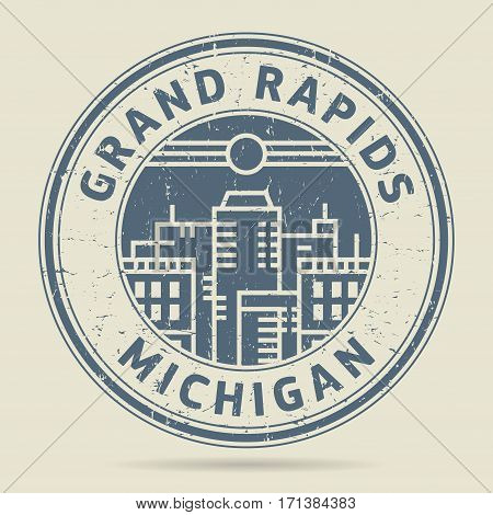 Grunge rubber stamp or label with text Grand Rapids Michigan written inside vector illustration