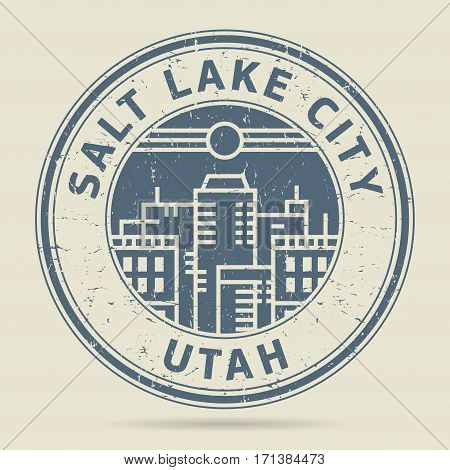 Grunge rubber stamp or label with text Salt Lake City Utah written inside vector illustration