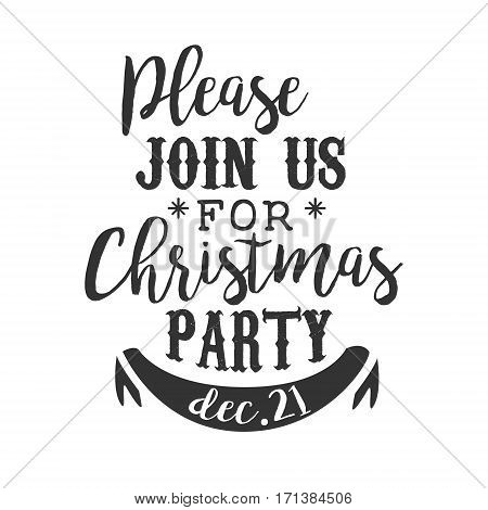 Christmas Party Black And White Invitation Card Design Template With Calligraphic Text. Monochrome Print Inviting To The Celebration Event In Classy Typography Style Vector Illustration