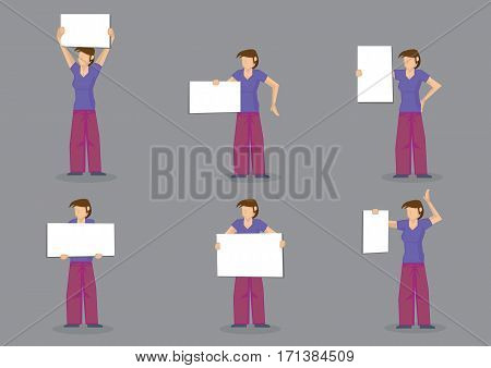 Set of six vector illustration of cartoon woman in casual clothes holding blank display sign with copy space isolated on grey background.