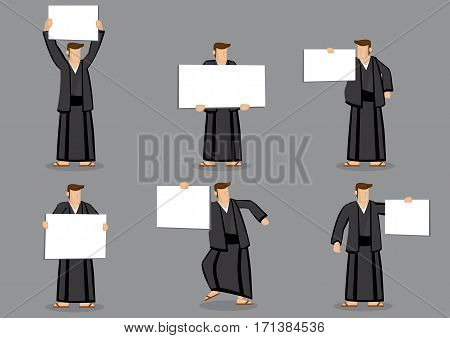 Set of six vector cartoon character illustrations of Japanese man wearing traditional costume and holding blank placard sign isolated on plain grey background.