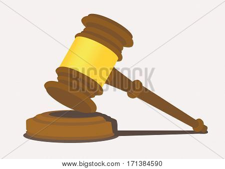 Wooden mallet with thin end handle strikes on a sound block. Vector illustration isolated on plain light background.