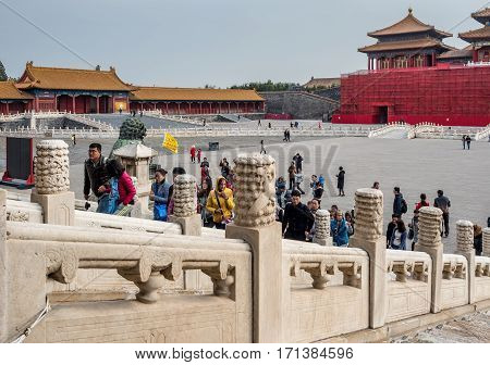 Beijing, China - Oct 30, 2016: Back of Meridian Gate under works. Small left gate leads to Hall of Literary Glory. At the Gate of Supreme Harmony (Taihemen), Forbidden City (Gu Gong, Palace Museum).