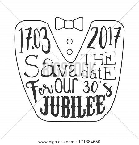 Thirty Years Jubilee Black And White Invitation Card Design Template With Calligraphic Text. Monochrome Print Inviting To The Celebration Event In Classy Typography Style Vector Illustration