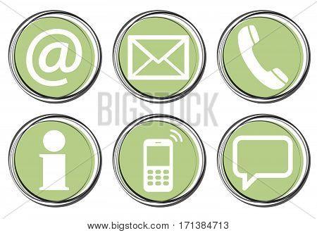 Six Contact Us Icons Button Set