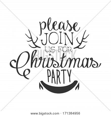 Christmas Party Black And White Invitation Card Design Template With Calligraphic Text And Deer Antlers. Monochrome Print Inviting To The Celebration Event In Classy Typography Style Vector Illustration