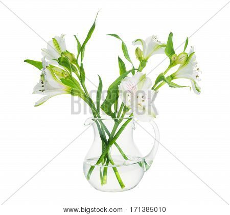 Bouquet Of Alstroemeria Flowers In Transparent Vase Isolated On White Background, Close Up, Mock Up