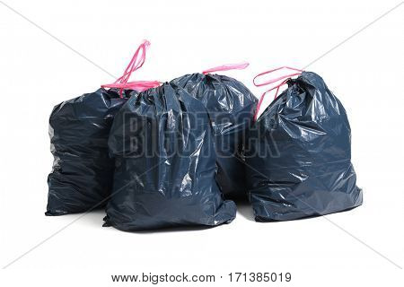 Pollution. Trash bags on a white background