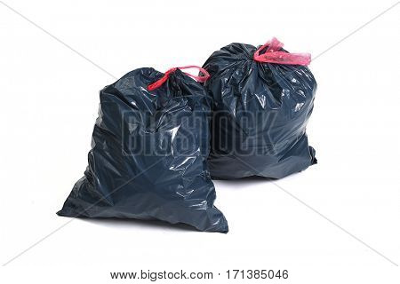 Pollution. Trash bag on a white background