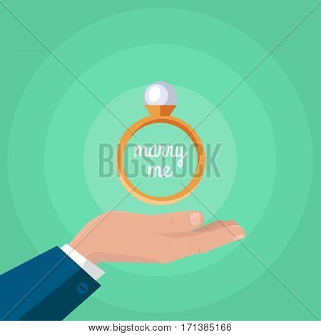 Marry me. Man makes proposal with wedding or engagement ring. Wedding ring icon on the outstretched hand. Jewelry ring with white gem. Luxury diamond ring. Jewels concept. Vector illustration
