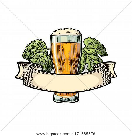Glass beer with ribbon and hop branch. Vector engraved color vintage illustration isolated on white background.