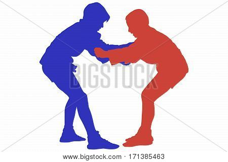 Silhouette of two juvenile male Sambo combatants in interlocking grip during a competition. Artwork isolated on white background. Concept for Russian martial arts sport and self-defense training.