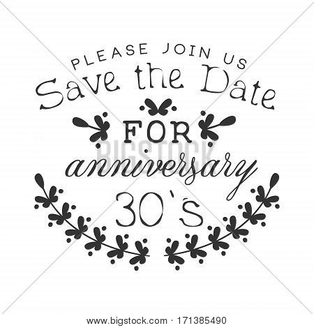 Wedding Anniversary Party Black And White Invitation Card Design Template With Calligraphic Text. Monochrome Print Inviting To The Celebration Event In Classy Typography Style Vector Illustration