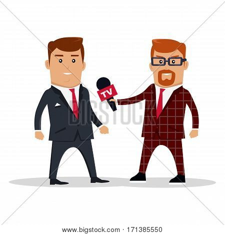 Interview on TV vector illustration. Television live broadcast streaming news. Media characters. Reporter interviews live on experts, politicians, officials, businessman. Public statement. On white.