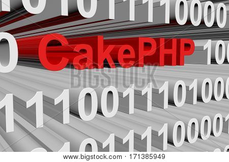 cakephp in the form of binary code, 3D illustration