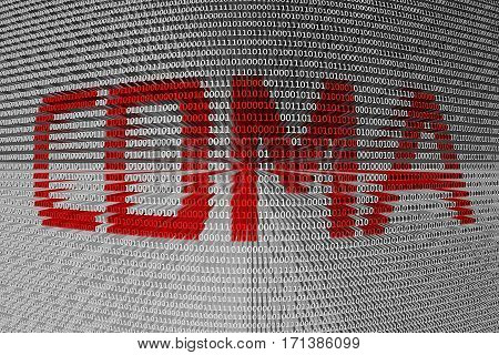 cdma in the form of binary code, 3D illustration