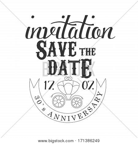 Anniversary Party Black And White Invitation Card Design Template With Calligraphic Text And Carriage. Monochrome Print Inviting To The Celebration Event In Classy Typography Style Vector Illustration