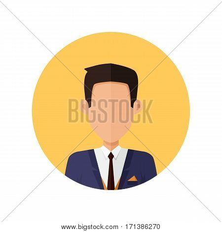 Stylish young man avatar or userpic in flat cartoon design. Man in the office suit. Close up portrait isolated. Part of series of diverse avatars without facial features. Vector illustration.