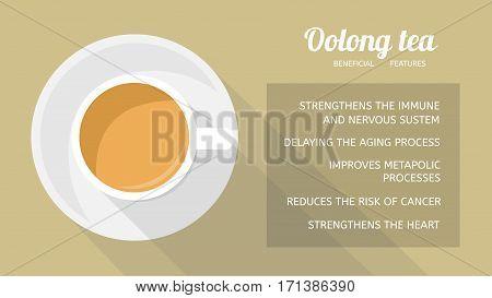 Oolong tea: properties and health benefits. Cup of beverage, top view