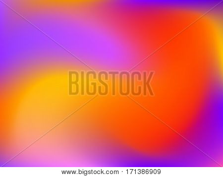 Abstract blur gradient horizontal background with trend pastel purple, violet, pink, yellow and orange colors for deign concepts, wallpapers, web, presentations and prints. Vector illustration.