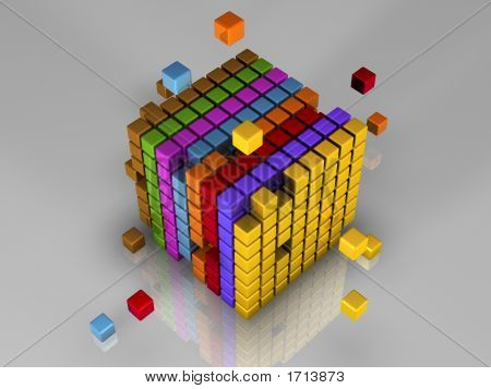 512 different colored small cubes arranged in groups of 64 cubes make up one much larger cube poster