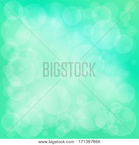 Green Soft Bright Abstract Bokeh Background , Soft Glow of the Sun , Defocused Lights, Vector Illustration