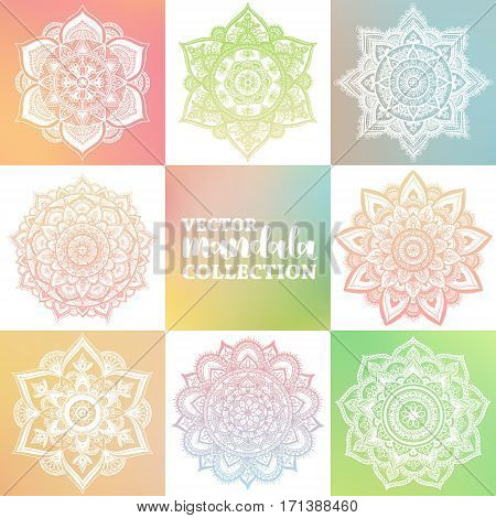 Vector Set Of Arabic Mandala On Greenery Spring Gradient Background. Bohemian Ornament For Posters A
