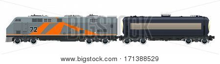 Orange Locomotive with Railway Tank Car Isolated on White Background, Train, Railway and Container Transport, Tank on Railway Platform for Transportation of Liquid and Loose Freights , Vector