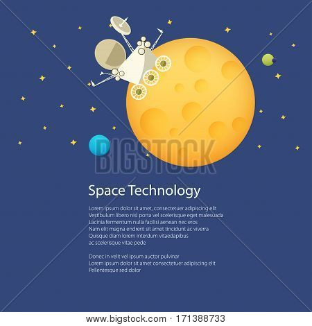 Planet Rover on the Moon among the Stars in Space and Text , Universe Concept, Flat Poster Brochure Flyer Design, Vector Illustration