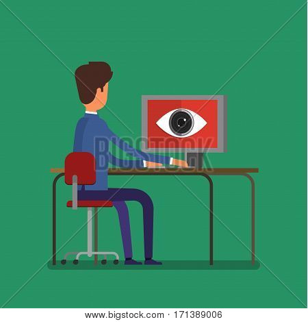 Concept of spying. Big brother is watching a man. Flat design, vector illustration