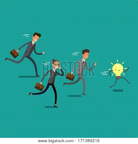 Concept of winning. Cartoon business people running and try to catch idea. Team leader competition. Flat design, vector illustration.