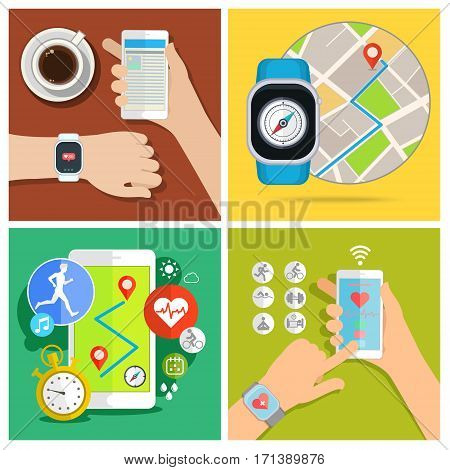 Set of smart watch new technology electronic device. Flat design, vector illustration.