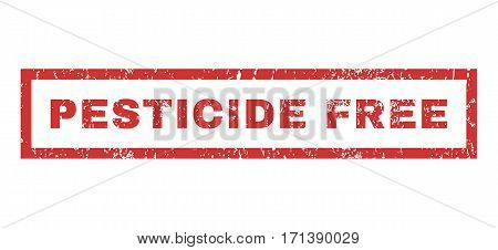 Pesticide Free text rubber seal stamp watermark. Tag inside rectangular banner with grunge design and dust texture. Horizontal vector red ink sign on a white background.