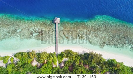 Beautiful aerial view of Maldives jetty and tropical beach with palms and white sand. Travel and vacation concept