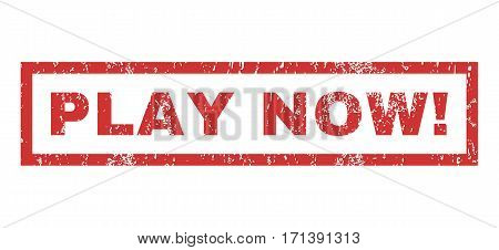 Play Now exclamation text rubber seal stamp watermark. Tag inside rectangular banner with grunge design and dirty texture. Horizontal vector red ink sign on a white background.