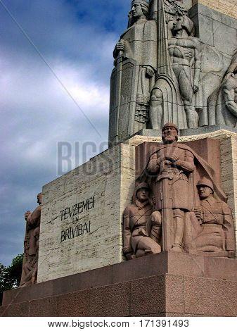 Riga, Latvia - May 28, 2016: Closeup bas-reliefs (Fragment) of the sculpture