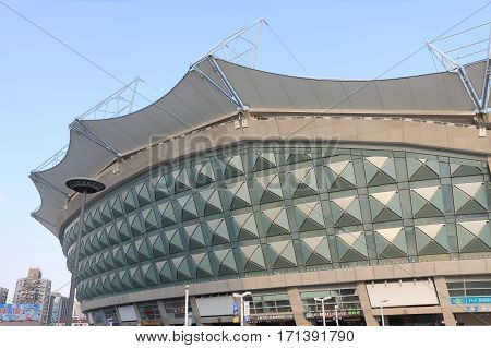 SHANGHAI CHINA - NOVEMBER 2, 2016: Hongkou Football Stadium. Hongkou Football Stadium is a football stadium in Shanghai with a capacity of 33,060.