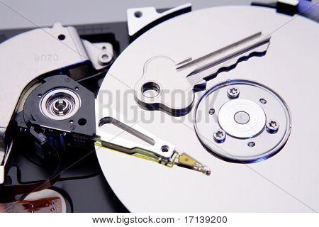 Key on computer hard-drive disc
