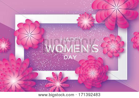 Magenta Paper Cut Flower. 8 March. Women's Day Greeting card. Origami Floral bouquet. Rectangle frame. Space for text on purple. Happy Mother's Day. Vector Spring illustration