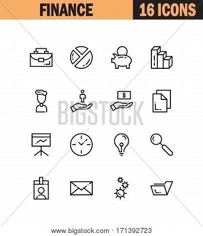 Finance flat icon set. Collection of high quality outline symbols for web design, mobile app. Finance vector thin line icons or logos.