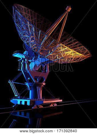 Space radar on a black background.,3d render