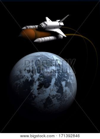 Space transport and globe on black background.