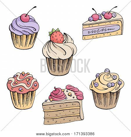 Muffin dessert graphic color isolated set sketch illustration vector