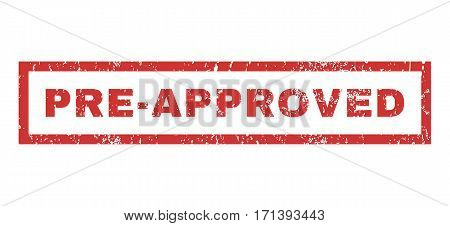 Pre-Approved text rubber seal stamp watermark. Tag inside rectangular shape with grunge design and dust texture. Horizontal vector red ink emblem on a white background.