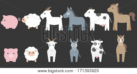 Set of animal farm elements for graphic info, such as pig, sheep, goat, donkey, cow, horse. front and side in flat design