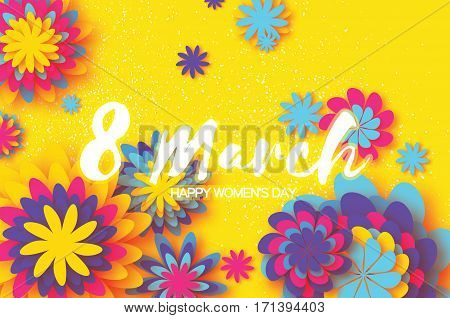Colorful Paper Cut Flower. 8 March. Women's Day Greeting card. Origami Floral bouquet. Space for text on yellow background. Happy Mother's Day. Vector Spring illustration