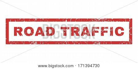 Road Traffic text rubber seal stamp watermark. Tag inside rectangular banner with grunge design and dust texture. Horizontal vector red ink sticker on a white background.
