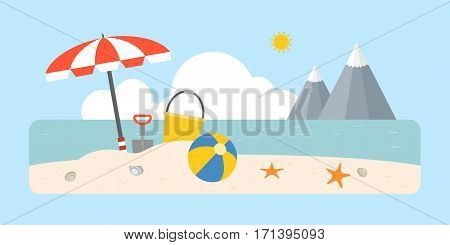 Beach scene with shovel and bucket, beach ball, umbrella on coastal landscape background, flat design for travel vacation business concept